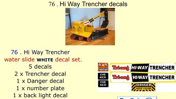 76 . Tri-ang Hi Way Trencher decals
